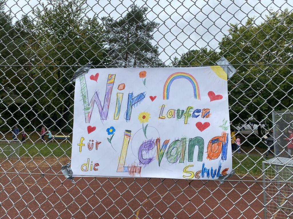 Plakat: Wir laufe für dier Levana Schule